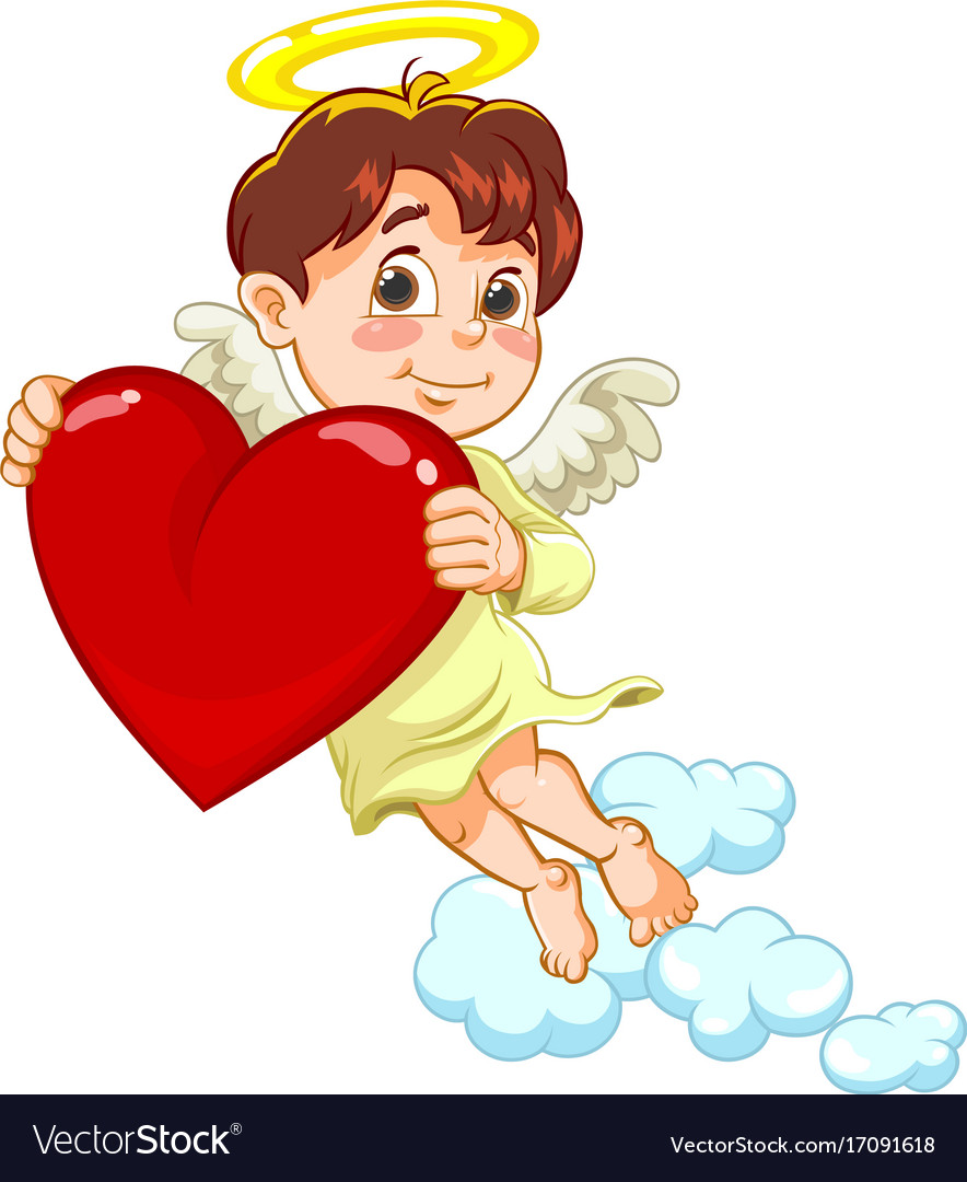 Little baby angel with a heart vector image