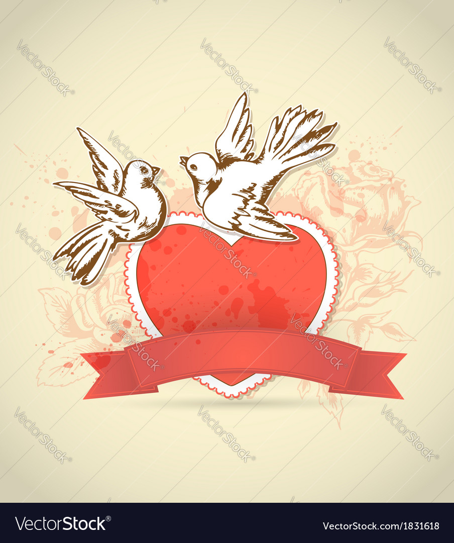 Red heart and dove Royalty Free Vector Image - VectorStock