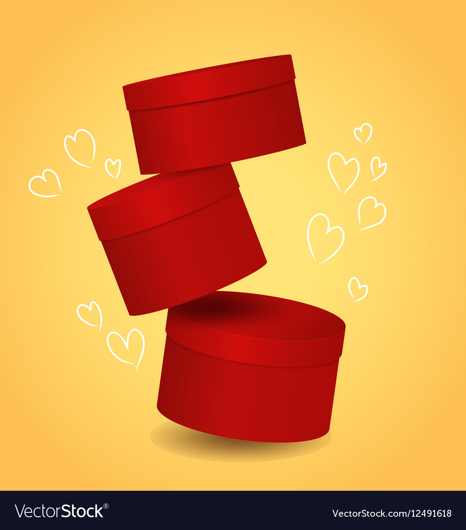 Three Isolated Round Red Decorative Gift Box With