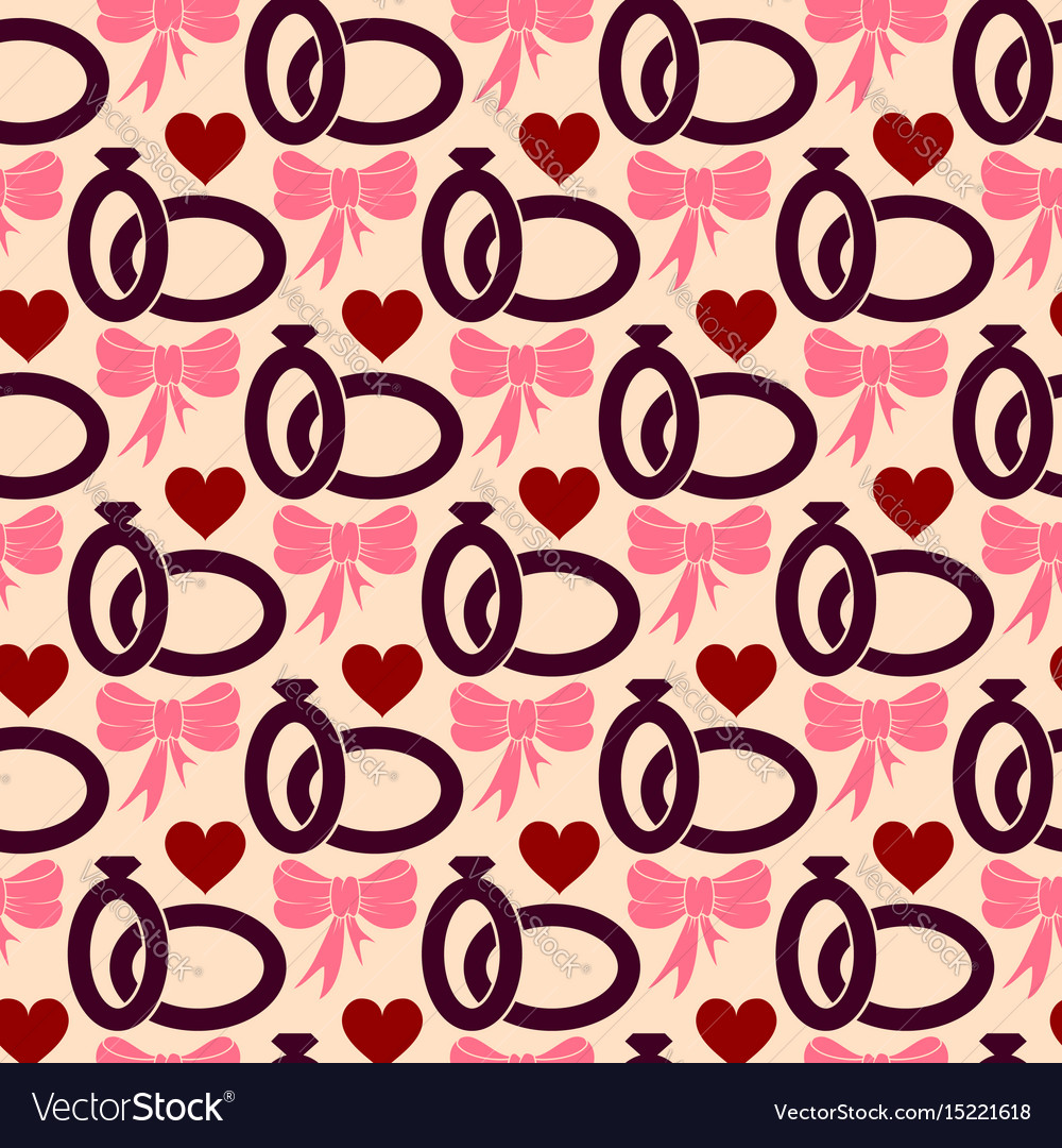 Valentines day seamless pattern with wedding rings