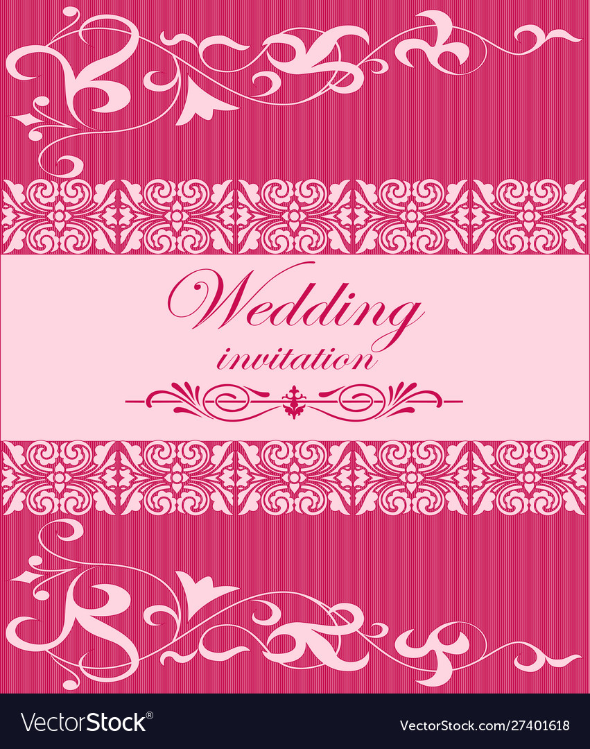Wedding invitation card with pink ornament