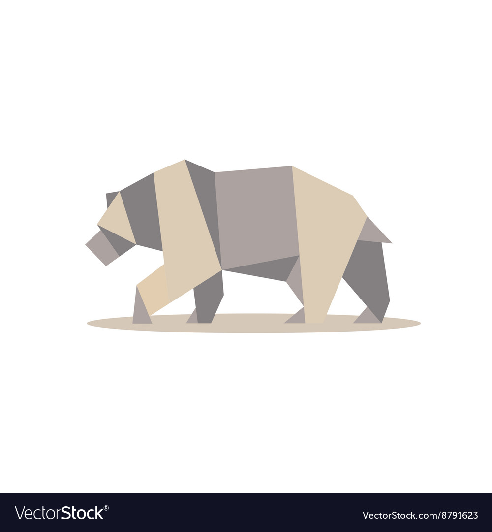 Brown bear in polygon style design on low poly