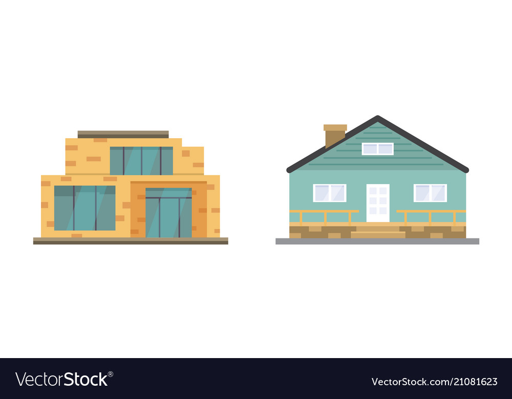 Cottage and assorted real estate building icons