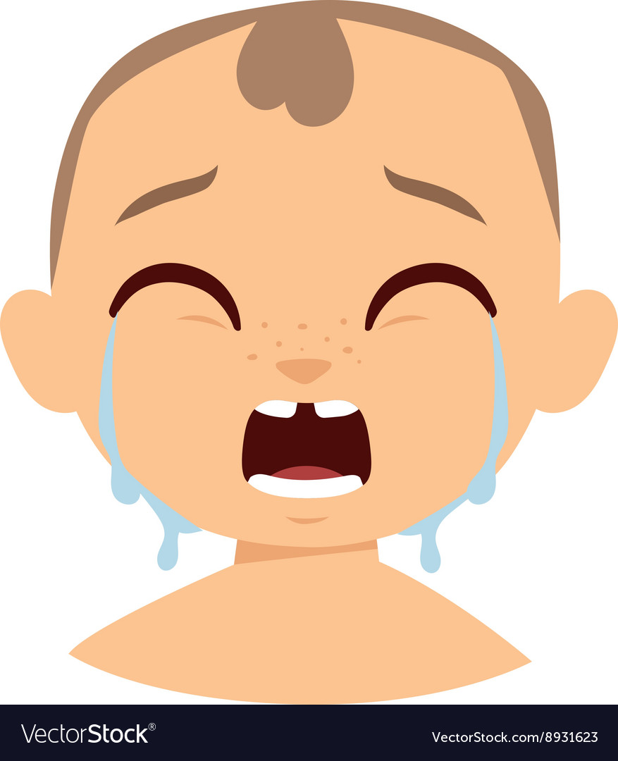 Crying boy face