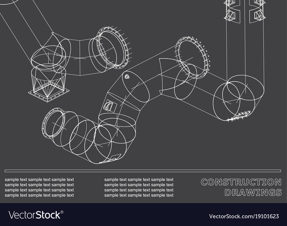 Drawings of steel structures pipes and pipe 3d