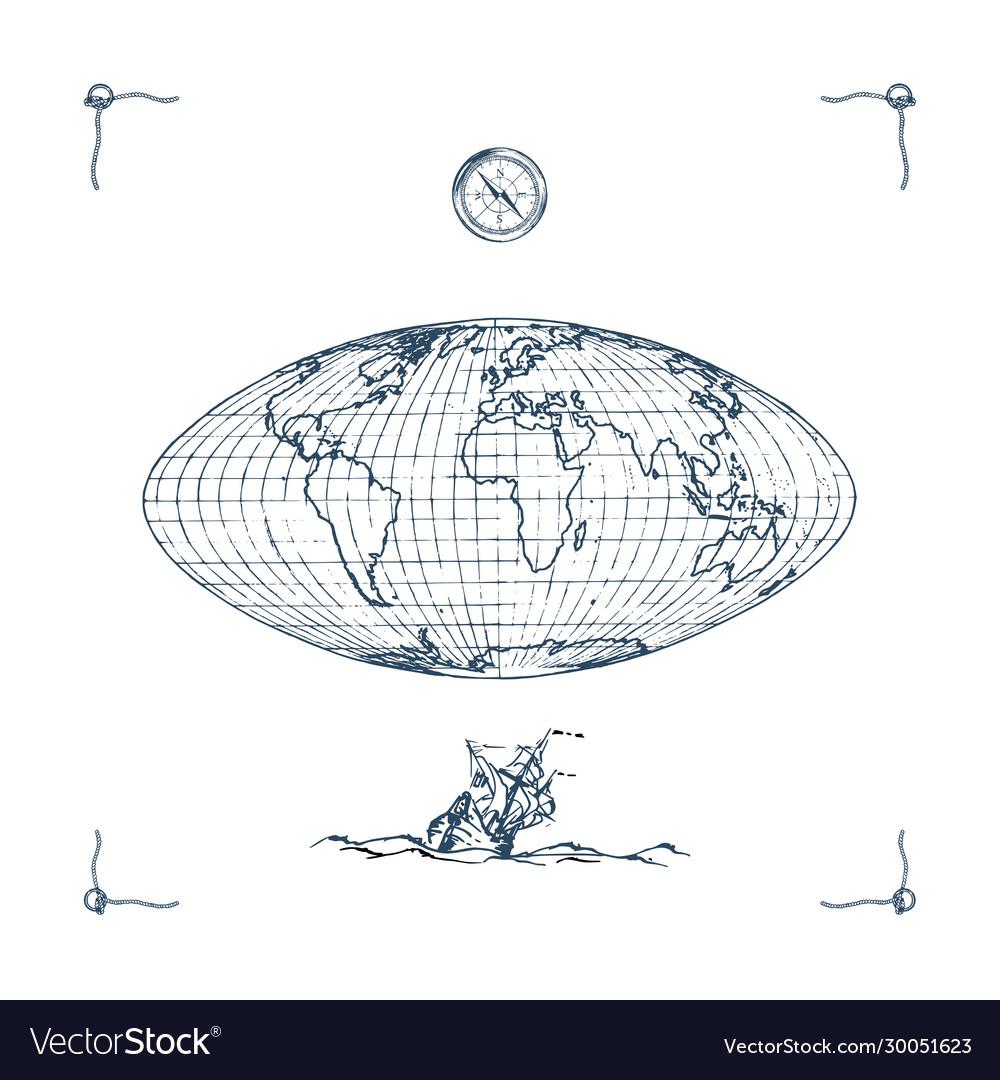 Graphic earth globe map