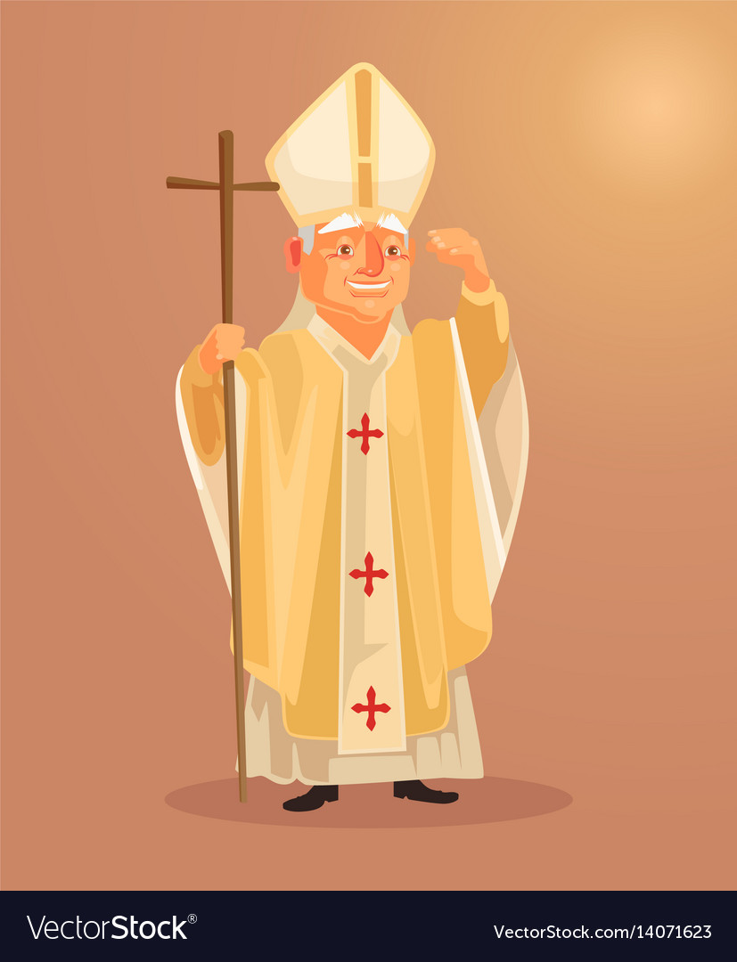 Happy smiling catholic priest mascot character