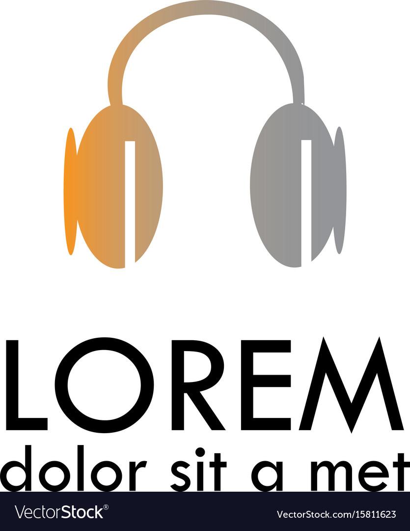 Headphone flat icon logo