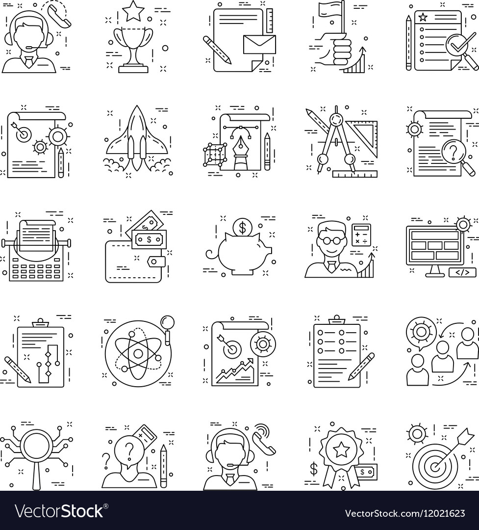 Line Icons With Detail 5 vector image