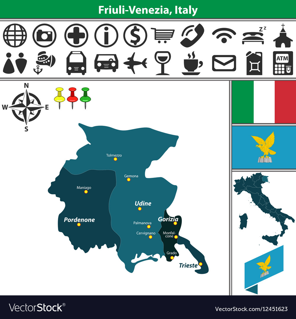 Friuli Italy Map.Map Of Friuli Venezia Royalty Free Vector Image