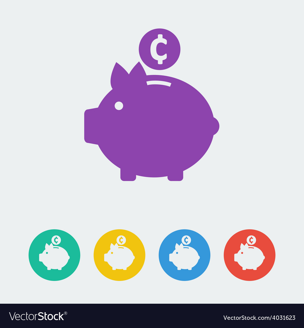 Piggy bank flat circle icon vector image