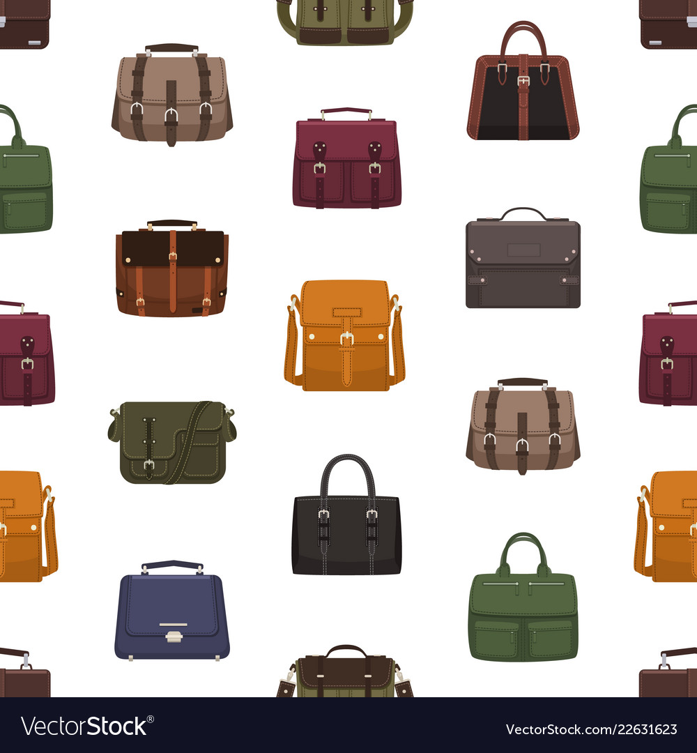 Seamless pattern with trendy men s bags or