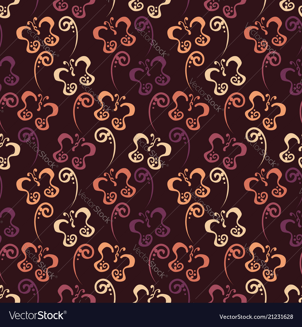 Butterfly hand drawn pattern with brown color