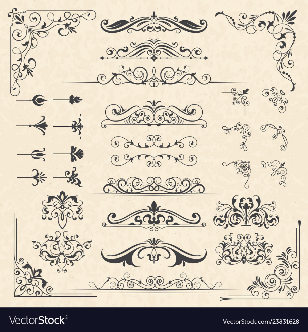 Calligraphy borders corners classic vintage