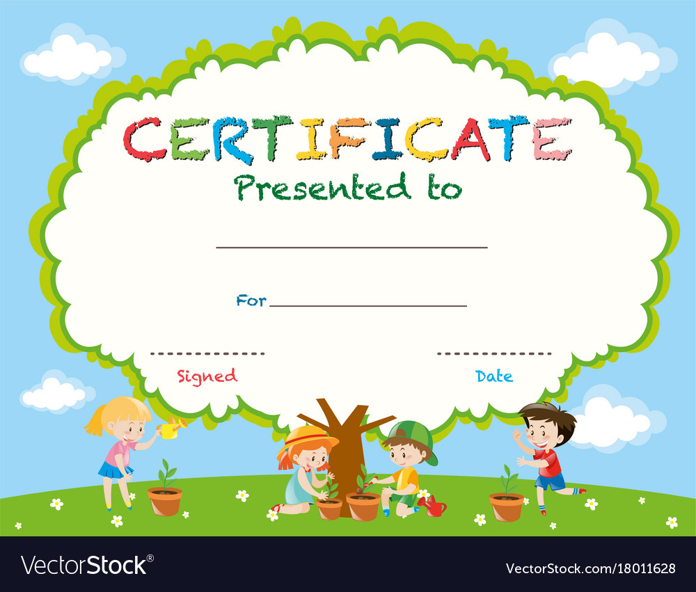 Certificate Template With Kids Planting Trees Vector Image