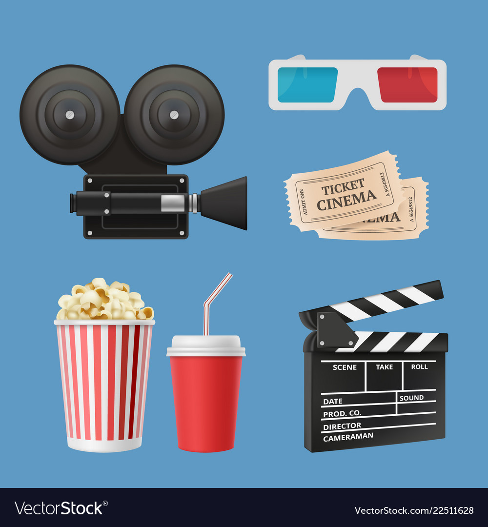 Cinema 3d icons movie camcorder clapperboards