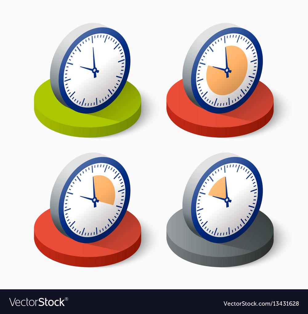 Clock icon in trendy vector image