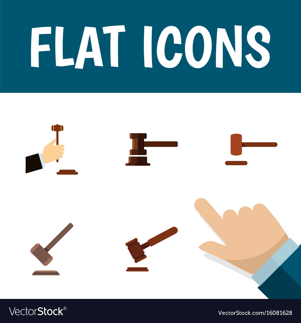 Flat icon hammer set of law tribunal defense and