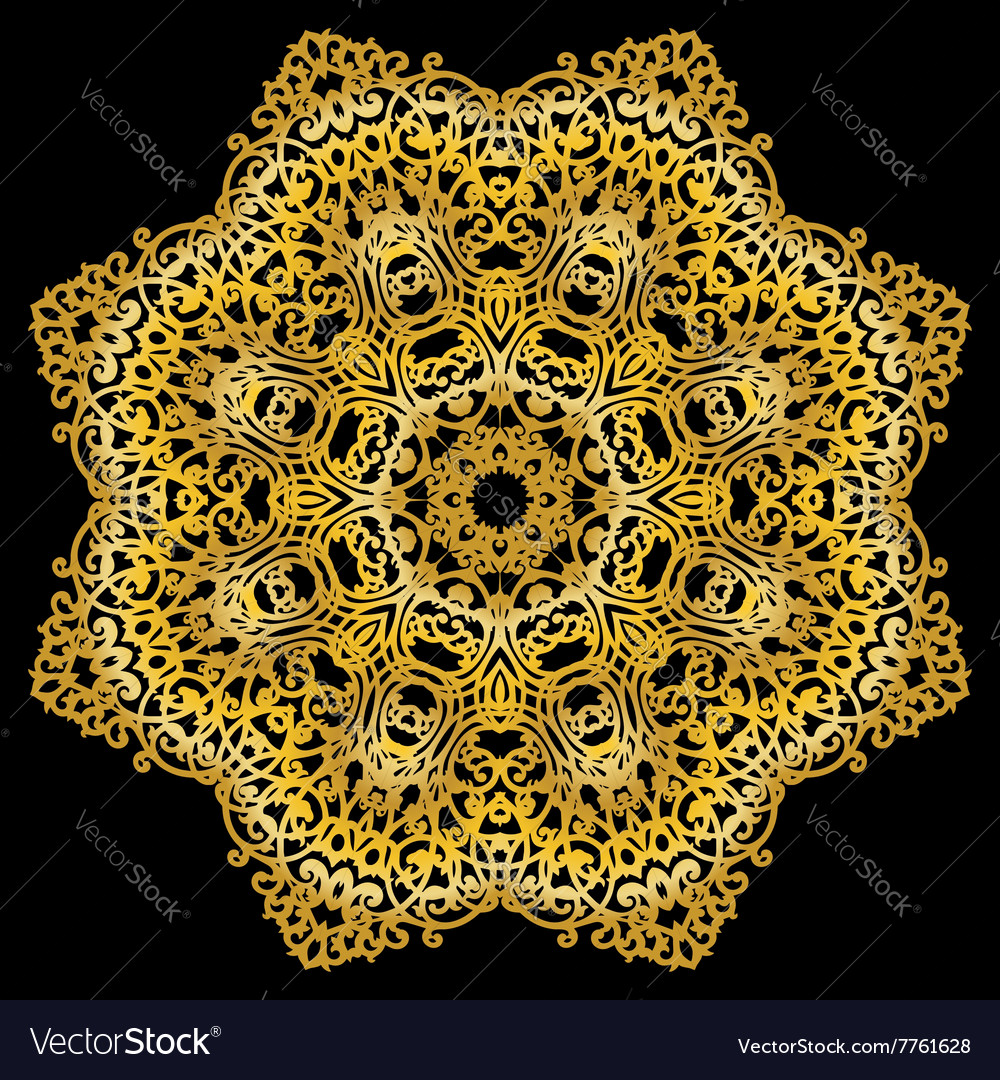 Gold circular pattern on black backgroud
