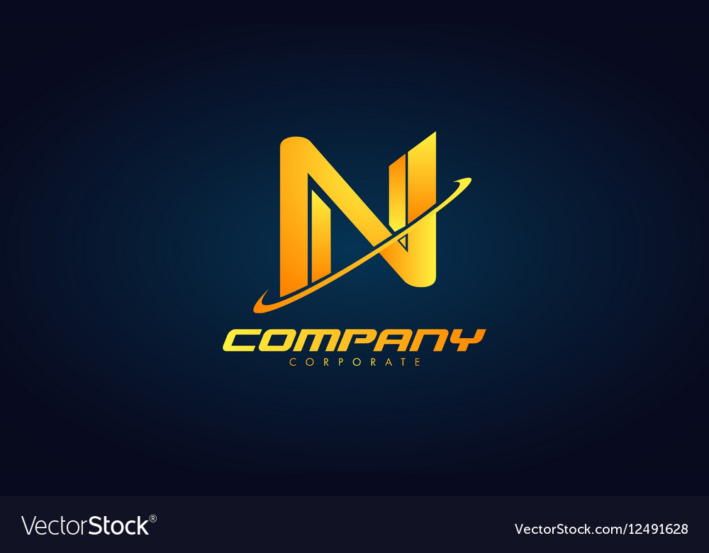 Gold letter N logo icon design Royalty Free Vector Image