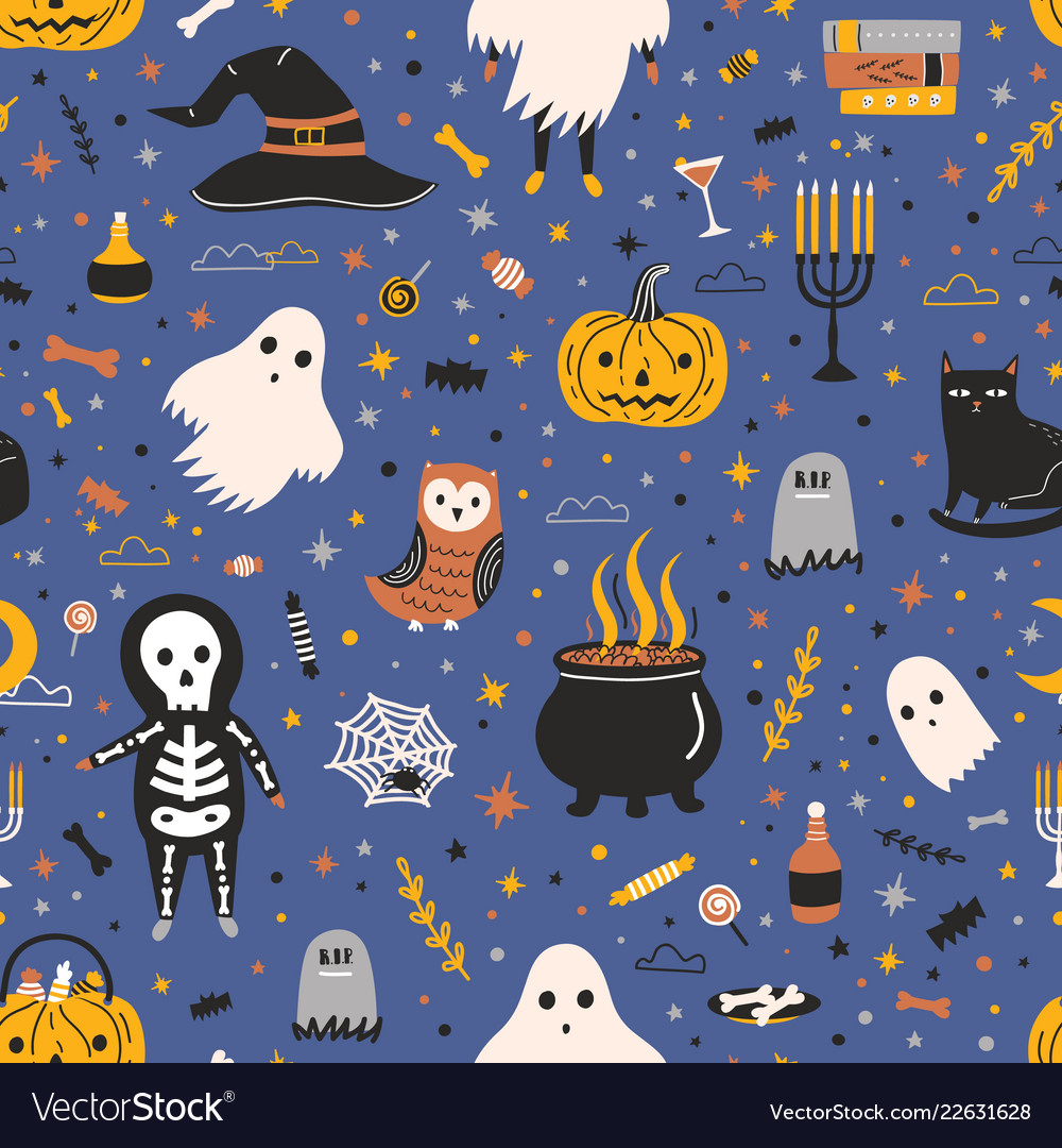 Halloween seamless pattern with adorable spooky