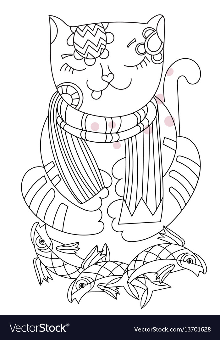 Hand drawn doodle outline cat