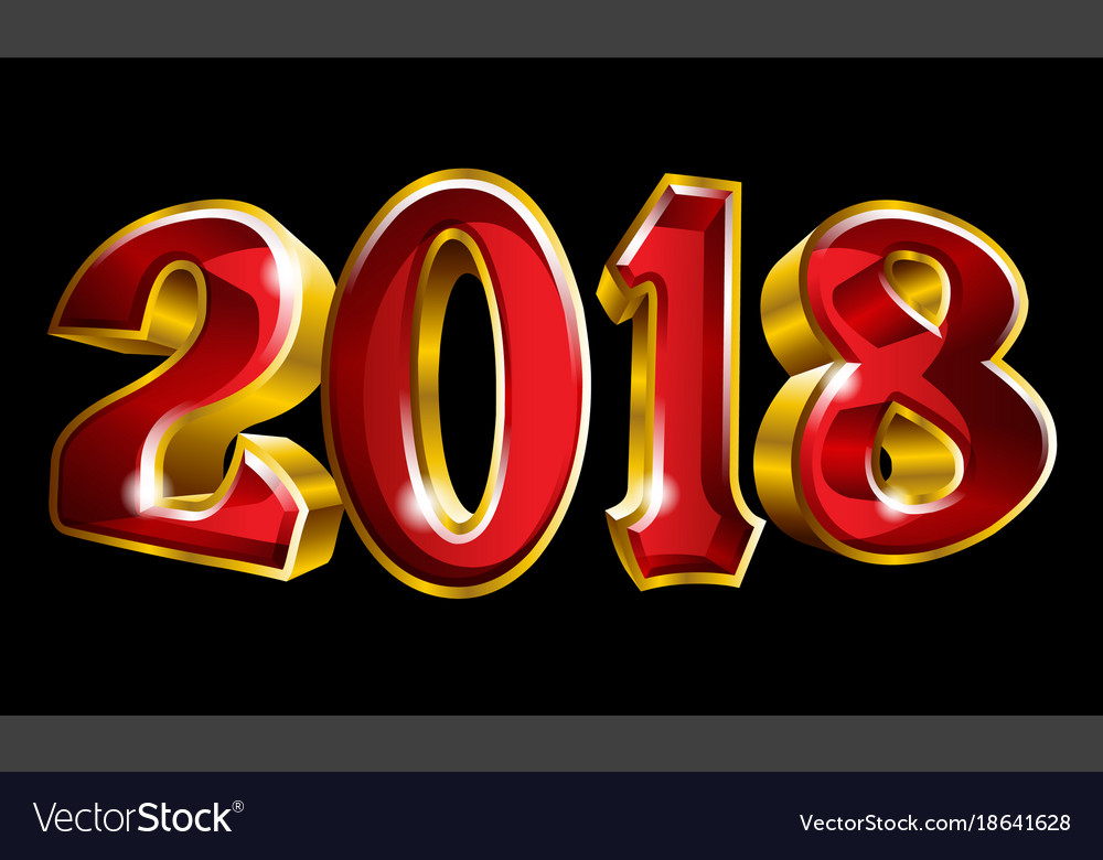 Happy New Year 2018 3d Like Gold Text Design Vector Image