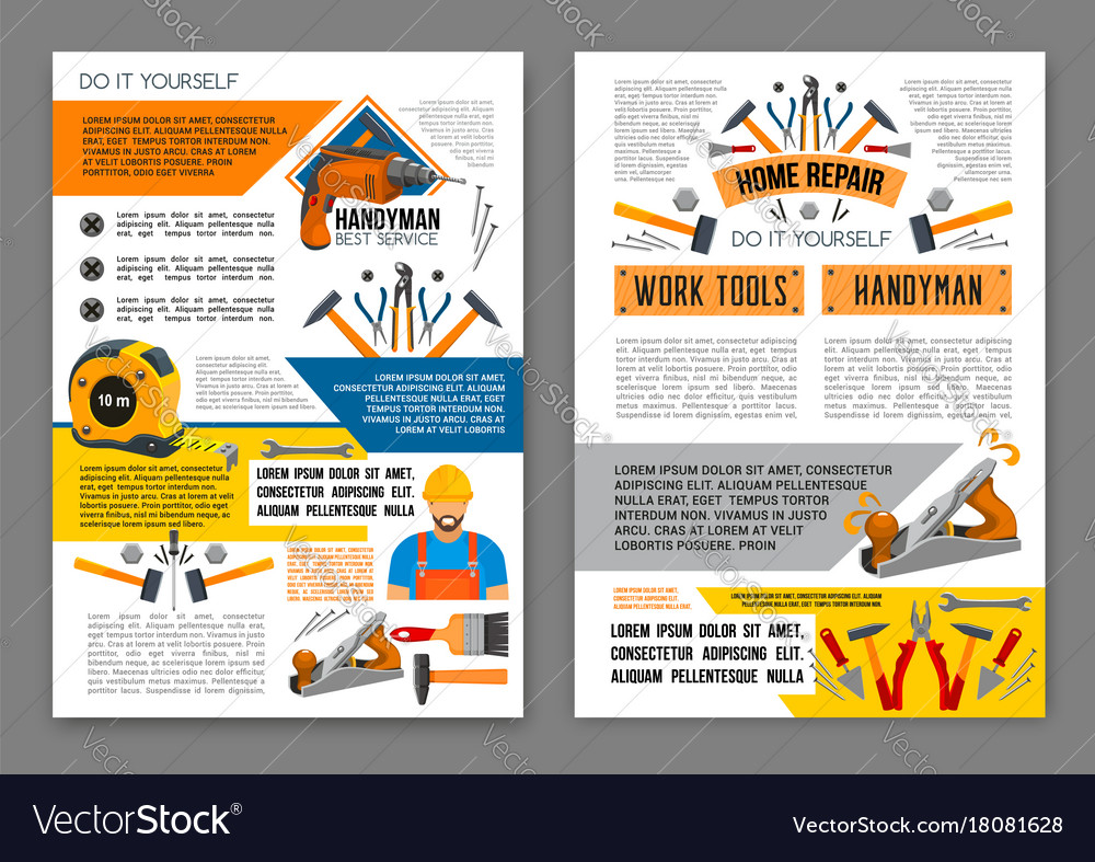 Home repair work tool banner template set vector image solutioingenieria Image collections