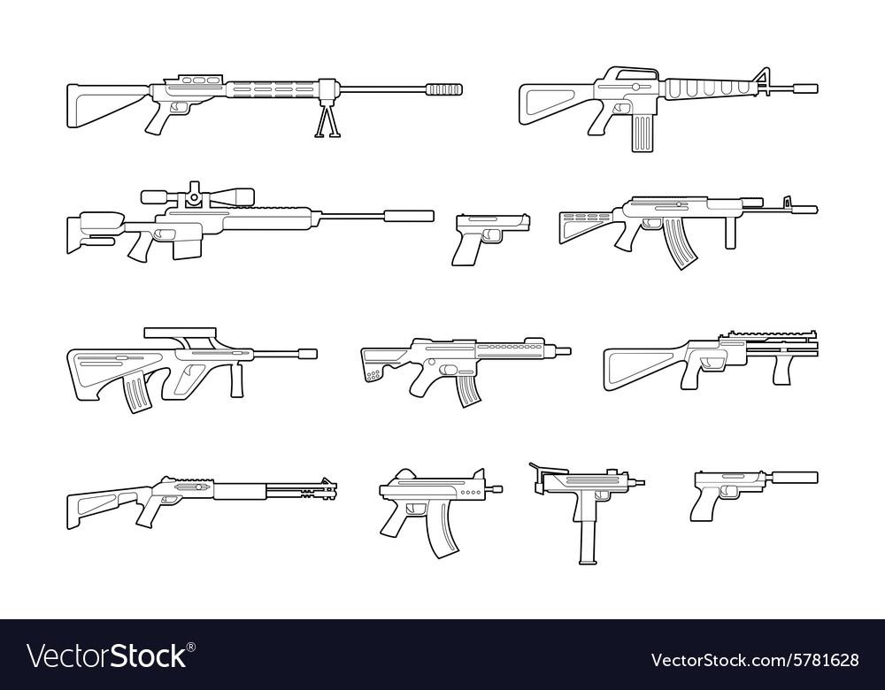 Machine guns and pistols line icons set vector image
