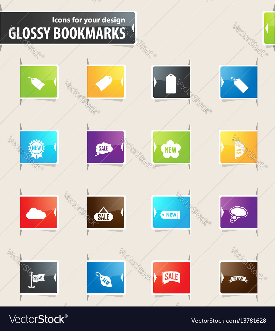 New stiker and label bookmark icons
