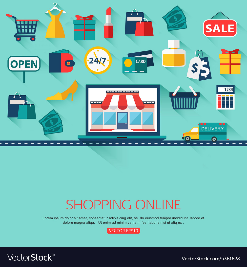 Online shopping concept background with place for