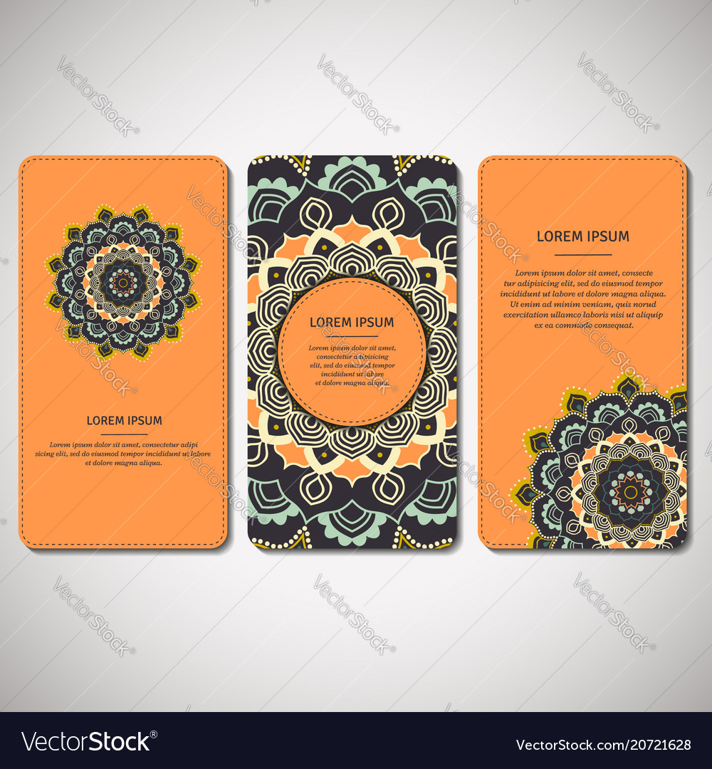 Set of ornamental cards flyers with flower