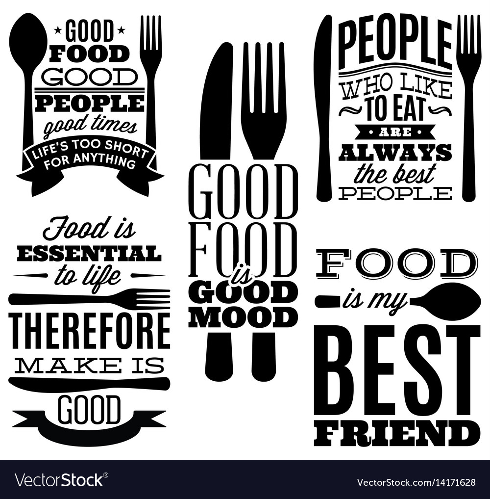 Set of vintage typographic food quotes for menu or