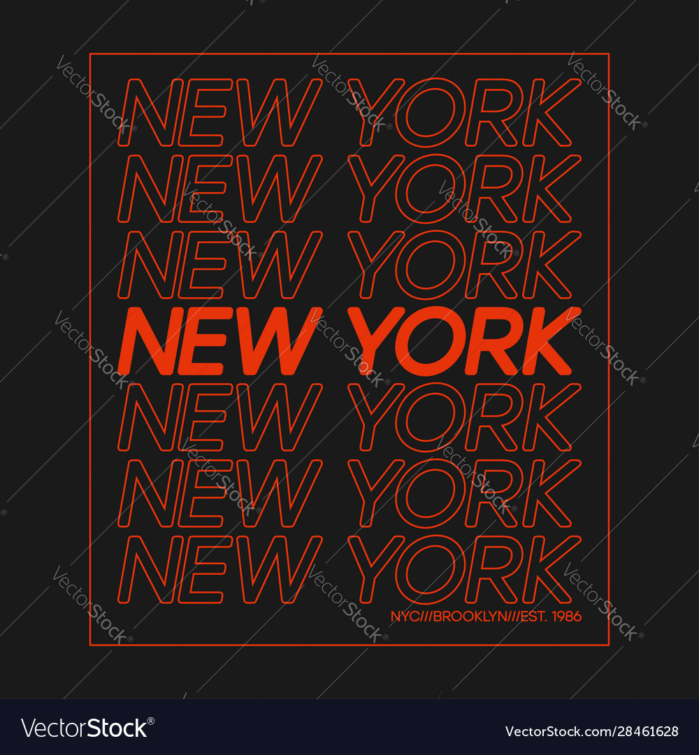 T-shirt design with outline text new york