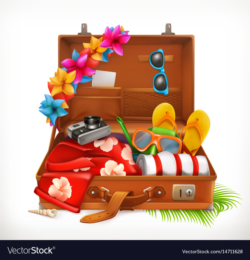 Tropical holidays summer vacation open suitcase