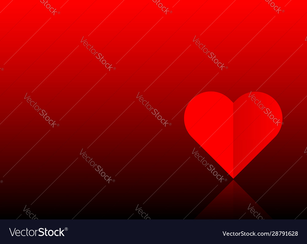 Valentines day red banner one red paper cut heart