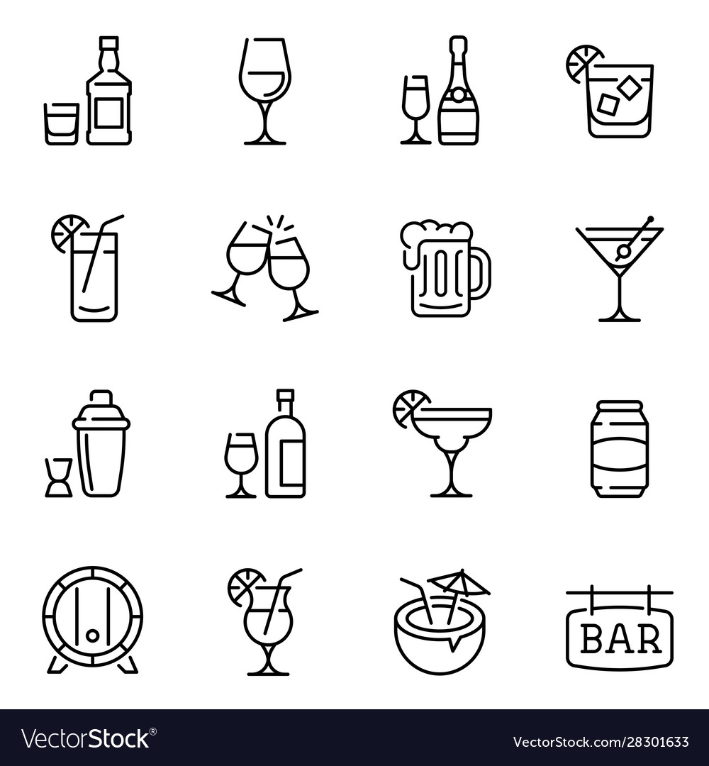Alcohol drinks thin line icons set
