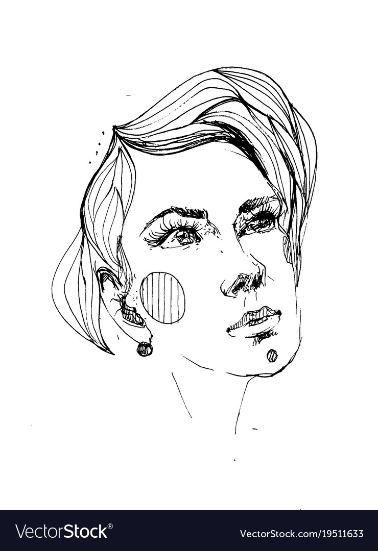Line portrait of young beautiful woman
