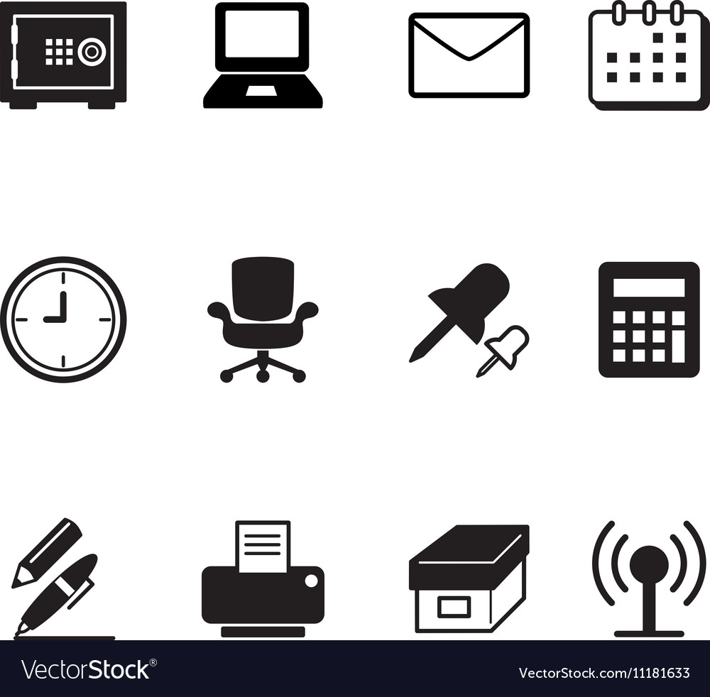 Office tools and stationery icons set
