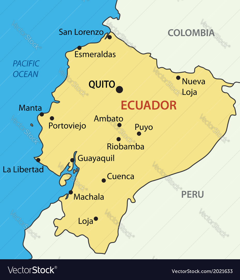 Ecuador On A Map Republic of Ecuador   map Royalty Free Vector Image