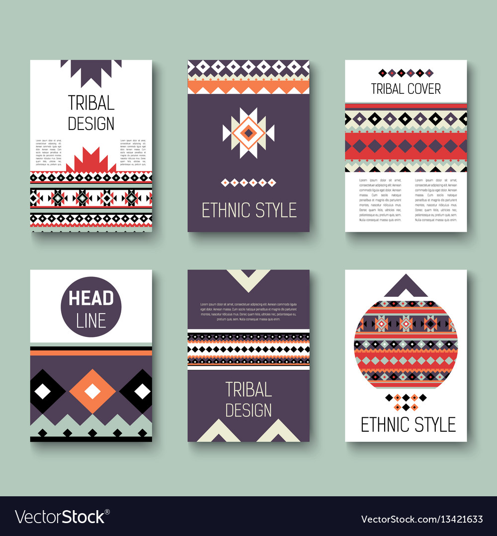 Set of geometric abstract colorful flyers ethnic