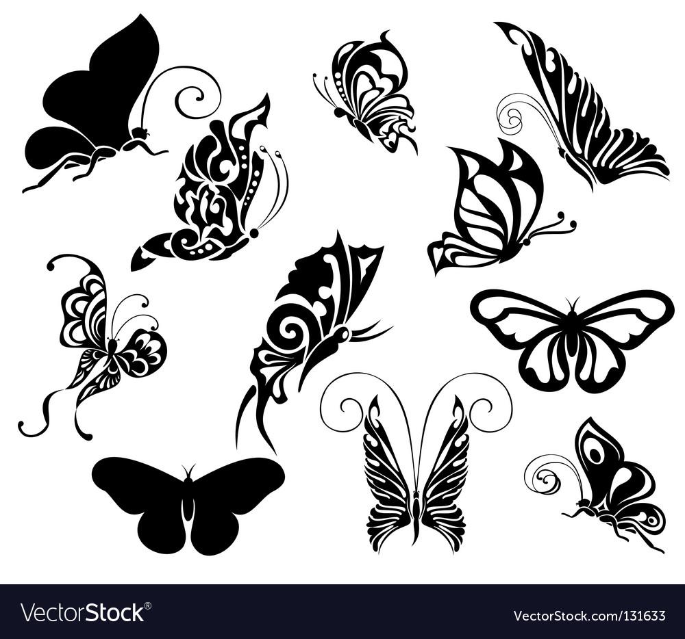 Set Of Tattoo Butterflies Vector. Artist: galina; File type: Vector EPS