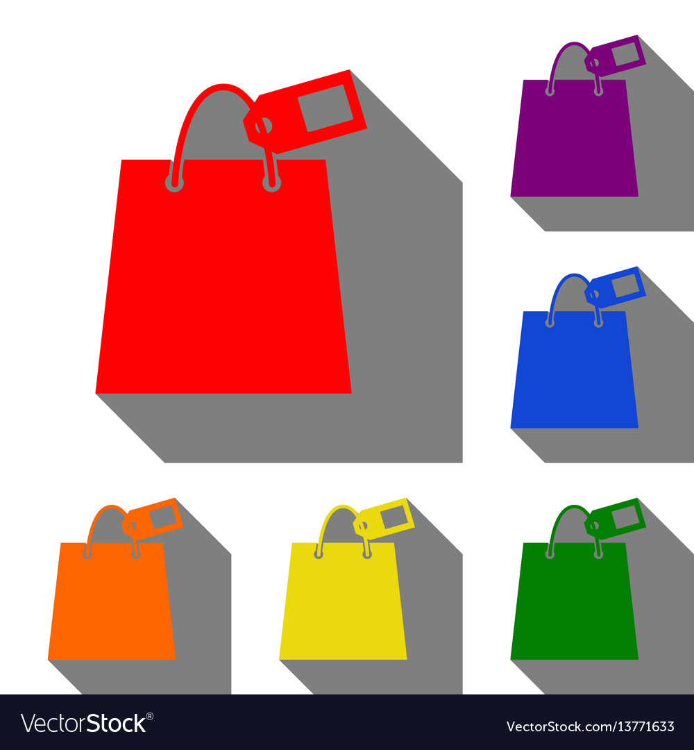 Shopping bag sign with tag set of red orange