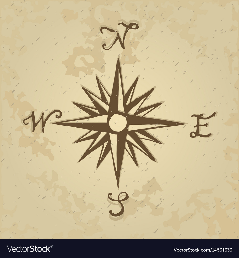 Sketch sign wind rose vector image