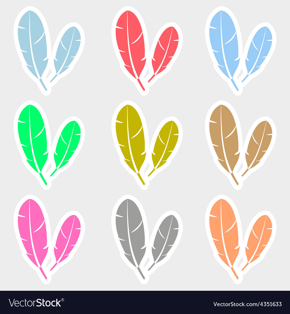Various color feathers symbols stickers set eps10 vector image