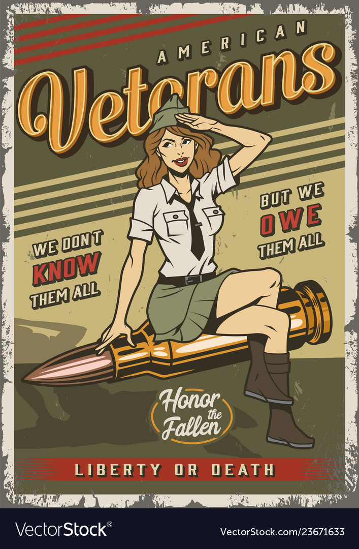 Vintage colorful military template