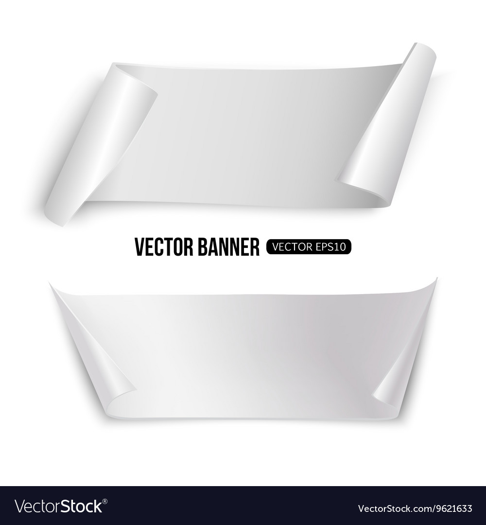 White paper banners isolated template