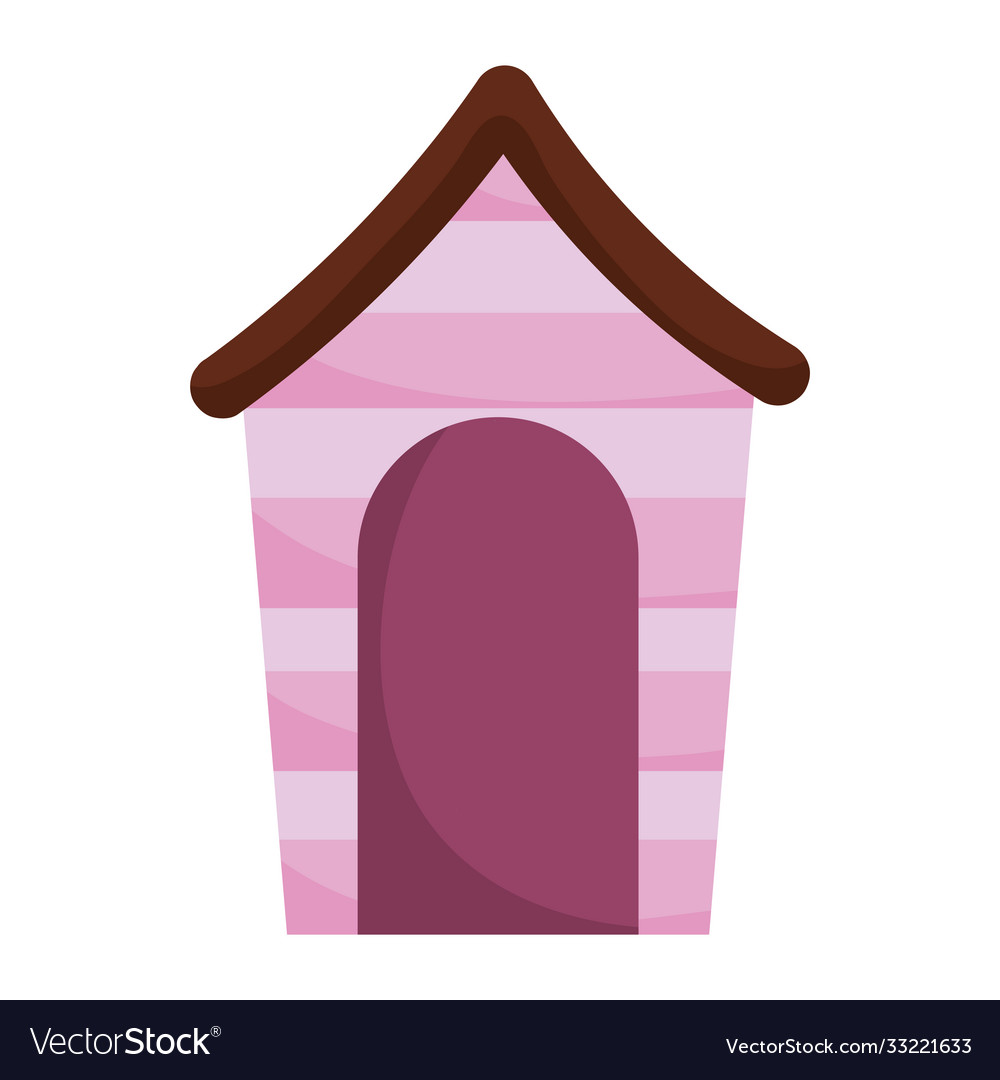 Wooden pet house cartoon isolated white background
