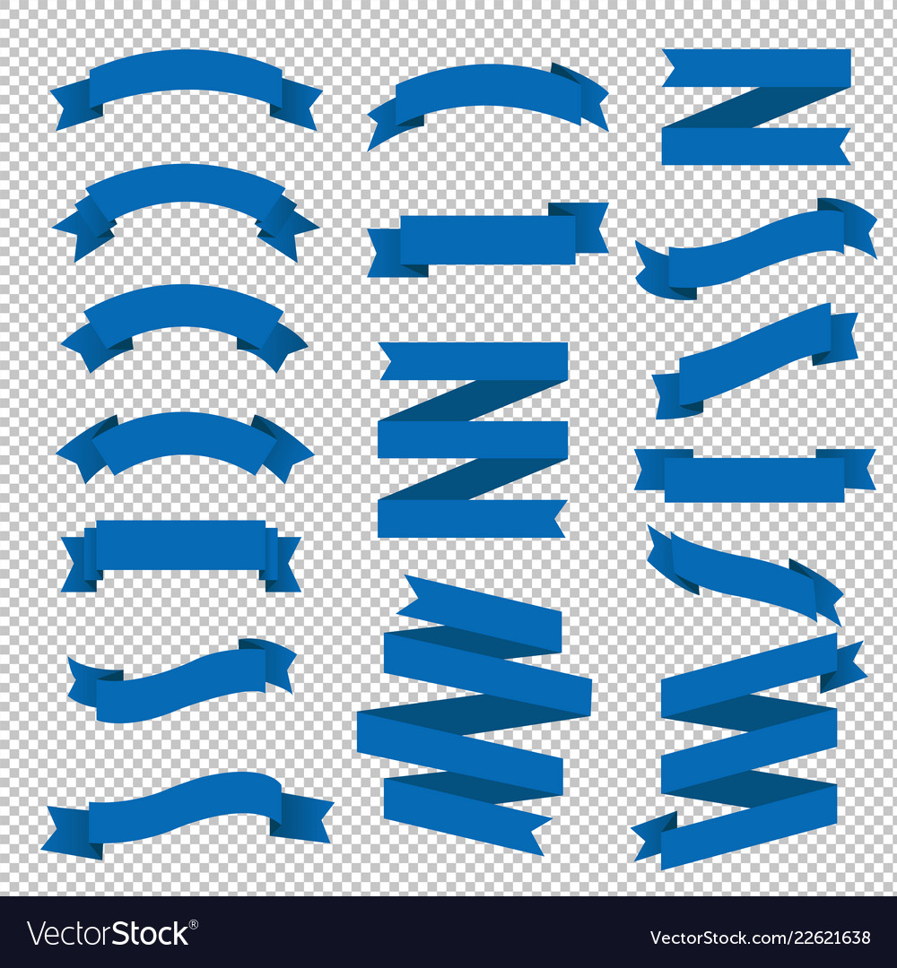 Blue ribbon big set transparent background