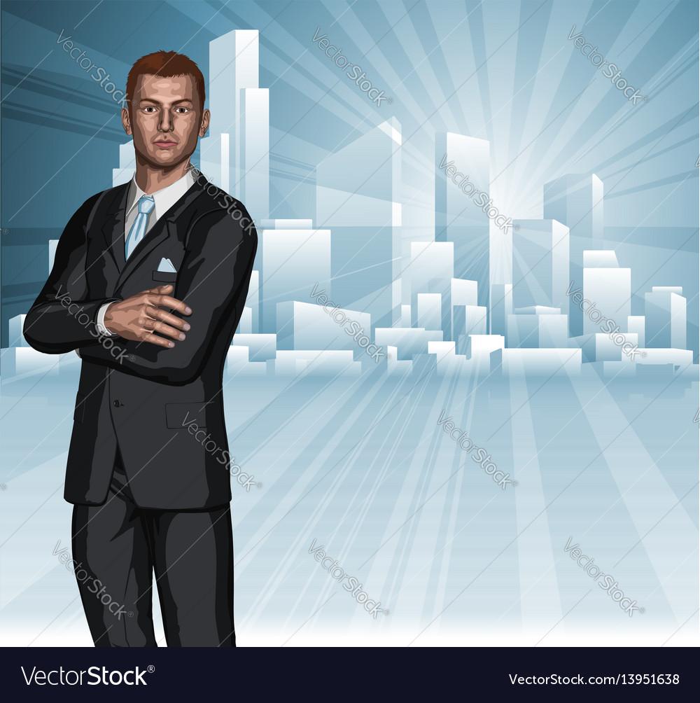 Confident young businessman city skyline concept